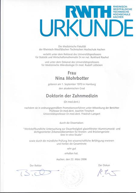 Urkunde Mohrbotter