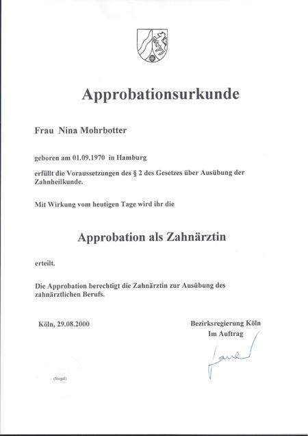 Approbationsurkunde Mohrbotter
